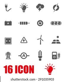 Vector gray electricity icon set.
