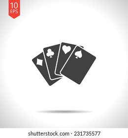 Vector gray flat isolate game cards icon. Eps10