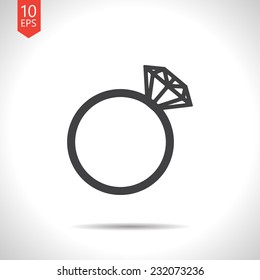 Vector gray flat wedding ring icon isolated on white. Eps10