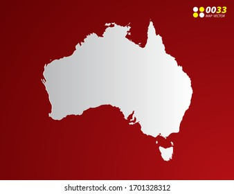 Vector Gray gradient of Australia map on red background.