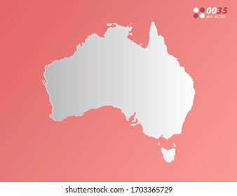 Vector Gray gradient of Australia map on orange background.