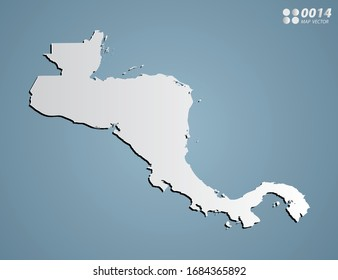 Vector Gray gradient of Central America map on blue background.