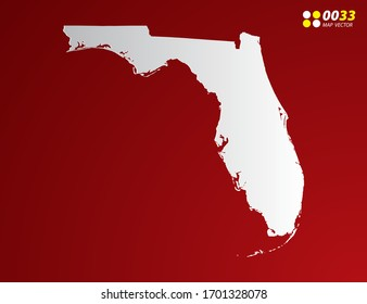 Vector Gray gradient of Florida map on red background.