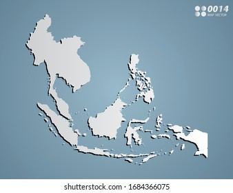 Vector Gray gradient of Southeast Asia map on blue background.