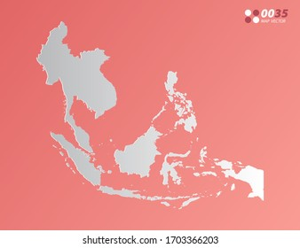 Vector Gray gradient of Southeast Asia map on orange background.