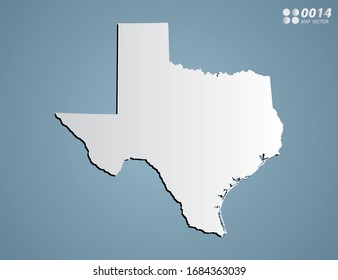 Vector Gray gradient of Texas map on blue background.