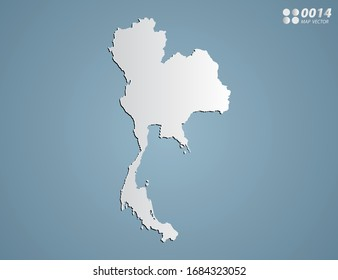 Vector Gray gradient of Thailand map on blue background.