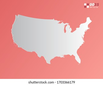 Vector Gray gradient of United States of America (USA) map on orange background.