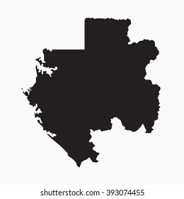 Vector gray map Gabon. Isolated vector Illustration. Black on Grey background. EPS Illustration.