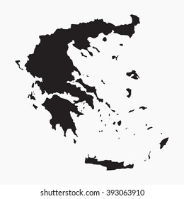 Vector gray map Greece. Isolated vector Illustration. Black on Grey background. EPS Illustration.