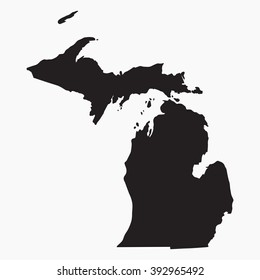 Vector gray map Michigan. Isolated vector Illustration. Black on Grey background. EPS Illustration.