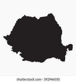 Vector gray map Romania. Isolated vector Illustration. Black on Grey background. EPS Illustration.