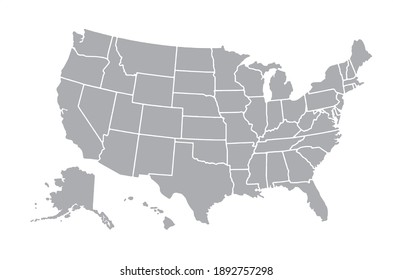 Vector gray of map United States of America
