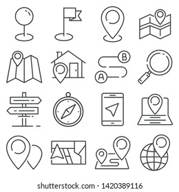 Vector Gray Navigation and Map line icons on white background