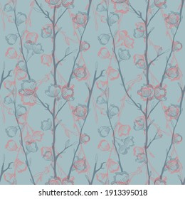 Vector gray pink cherry flowers seamless pattern