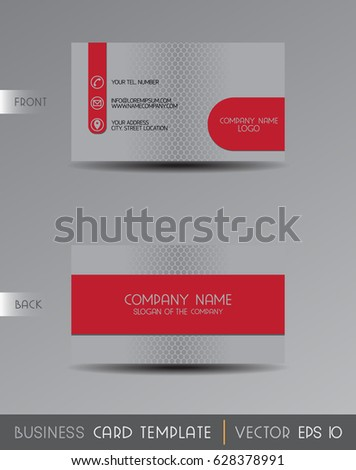 Vector Gray Red Business Card Template Stock Vector Royalty Free