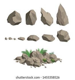 vector gray sharp stones on a transparent background