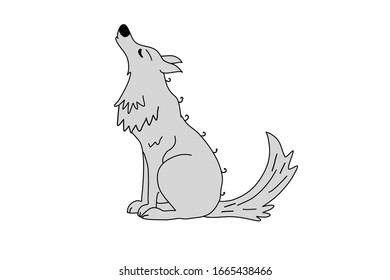 vector gray wolf howling at the moon