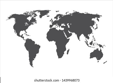 Vector Gray World Map Silhouette Isolated on White Background, Illustration Template, Monochrome Background.