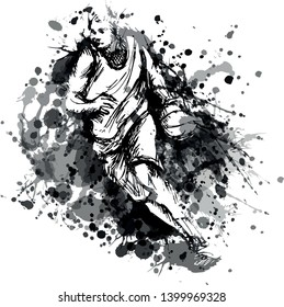 Vector grayscale illustration of basketball player