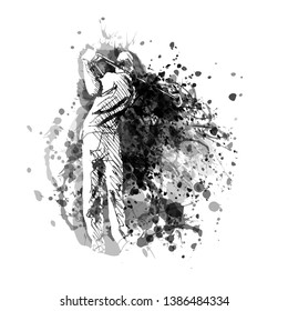 Vector grayscale illustration of a golfer