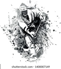 Vector grayscale illustration of a hockey player