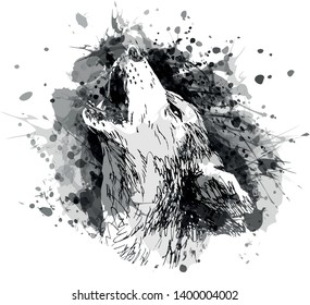Vector grayscale illustration of a howling wolf