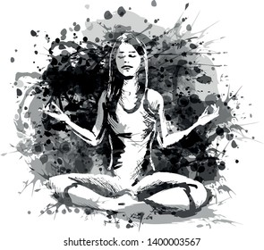 Vector grayscale illustration of a meditating woman