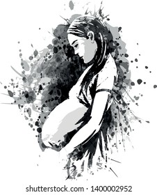 Vector grayscale illustration of a pregnant woman