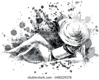 Vector grayscale illustration of sunbather woman with hat