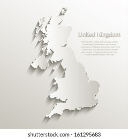 vector Great Britain United Kingdom map card paper 3D natural