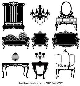 Vector great collection of furniture in the Baroque style. Big vector set of Antique furniture. ? Eleven different elements for your design