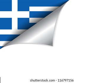 Vector - Greece Country Flag Turning Page