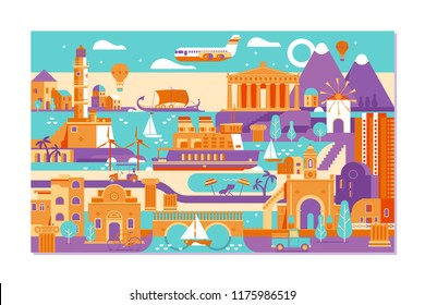 Vector Greece island summer sunset landscape.Typical Greek island,Picturesque sketch. Ideal for card, invitation, banners, posters.