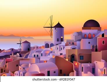 Vector Greece island summer sunset landscape