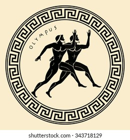 Vector Greece ornament. Temple of the Olympian gods with columns and graphic elements.
