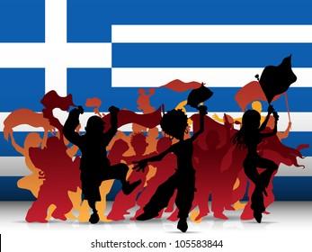 Vector - Greece Sport Fan Crowd with Flag