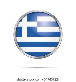 greece national flag glossy circle shape stock illustration