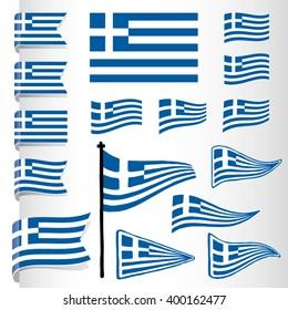 Vector Greek flag set