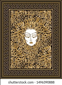 Vector Greek meander border pattern frame, Medusa Gorgon face with serpent golden hair. Gold, black and beige Baroque fashionable print for tee shirt, shopping bag, pillow, silk textile patch
