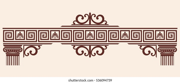 Vector Greek ornament. Set of vintage national graphic elements with columns and capitals.