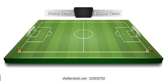 Vector green 3d soccer field or football field, gridiron with digital board