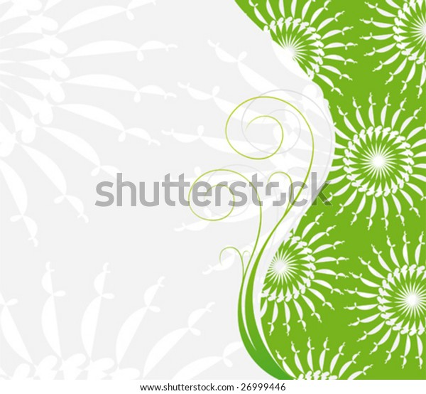 vector green abstract floral background