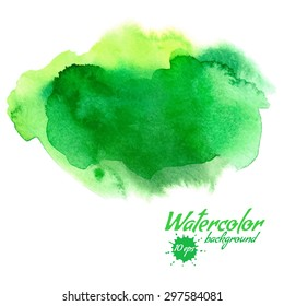 Vector green abstract hand drawn watercolor background for your design