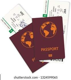 Vector green airline passenger and boarding pass tickets inside international passport. Boarding pass tickets nedd for travel by plane
