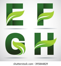 Vector green alphabet set of eco letters logo with leaves: E,F, G,H