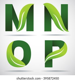 Vector green alphabet set of eco letters logo with leaves: M,N,O,P