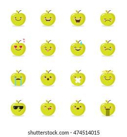 Vector green apple emoji set. Funny cartoon emoticons.