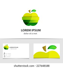 Vector green apple logo isolated. Creative template business card