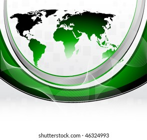 Vector green background with map; clip-art